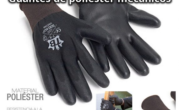 Los guantes de poliéster se sirven en cajas de 120 unidades.
