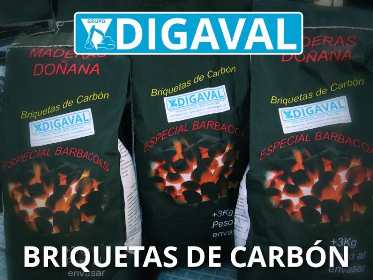 Briquetas de carbón en sacos de 3 kg.